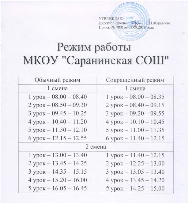 Расписание работы школы (1)